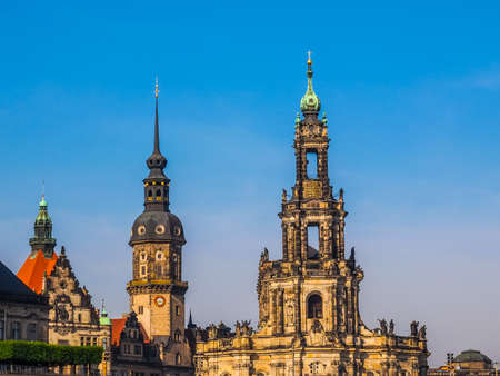 dresden: High dynamic range HDR Dresden Cathedral of the Holy Trinity aka Hofkirche Kathedrale Sanctissimae Trinitatis in Dresden Germany Stock Photo
