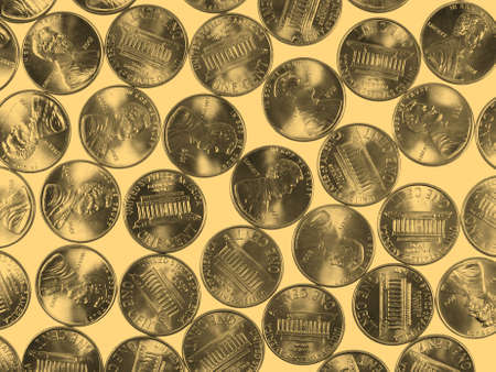 cent: Dollar coins 1 cent wheat penny cent currency of the United States - vintage sepia look