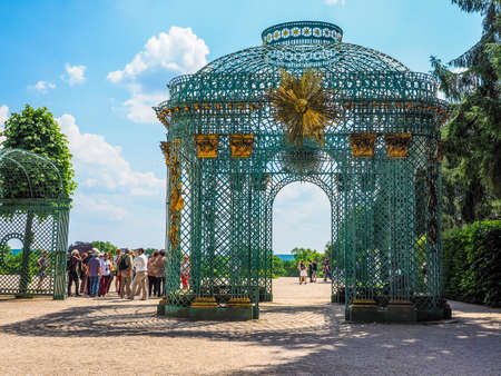 POTSDAM, GERMANY - CIRCA JUNE 2016: Tourists visiting the Schloss Sanssouci royal summer palace of Frederick the Great King of Prussia (HDR)