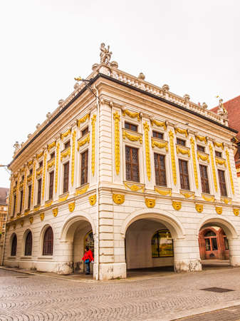 alte: LEIPZIG, GERMANY - JUNE 14, 2014: The Alte Handelsboerse meaning Old Stock Exchange is one of the oldest baroque buildings in Leipzig Germany (HDR)