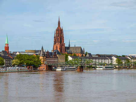 High dynamic range HDR View of the city of Frankfurt am Main from the River Main Stock Photo