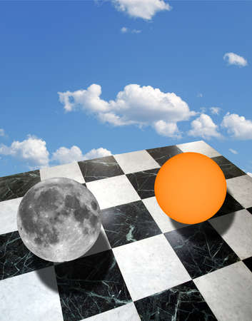 Metaphysical composition with the sun and the moon on a checkered marble floor over blue sky with clouds (collage made with my own photos taken with a telescope)