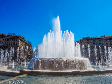 sforzesco: High dynamic range HDR Fountain in front of Castello Sforzesco in Milan