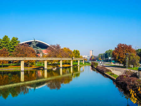 TURIN, ITALY - NOVEMBER 07, 2015: Ruins of Monorail built for the Italia 61 exhibition in 1961 for the centenary of Italian reunion (HDR)