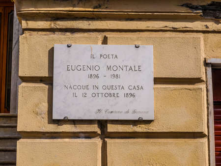 nobel: GENOA, ITALY - MARCH 16, 2014: A stone marks the house where the great Italian Nobel poet Eugenio Montale was born in year 1896 (HDR)
