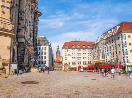DRESDEN, GERMANY - JUNE 11, 2014: Tourists visiting the Neumarkt new market square (HDR)
