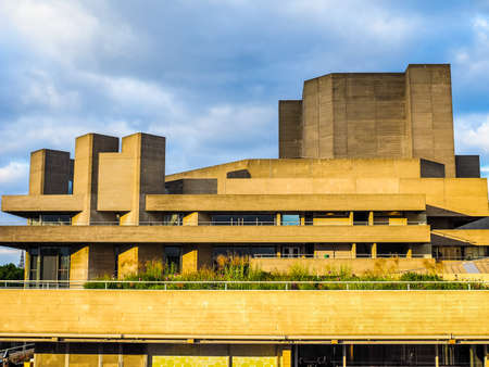 LONDON, UK - JUNE 09, 2015: The National Theatre designed by Sir Denys Lasdun is a masterpiece of new brutalist architecture (HDR)