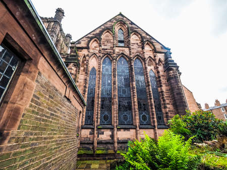 High dynamic range (HDR) Chester Anglican Cathedral church in Chester, UK Stock Photo