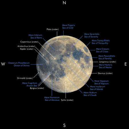 enhanced: Map of full moon seen with telescope, with enhanced colours to show the real colours of terrain surface. Names of seas and craters in Latin and English Stock Photo