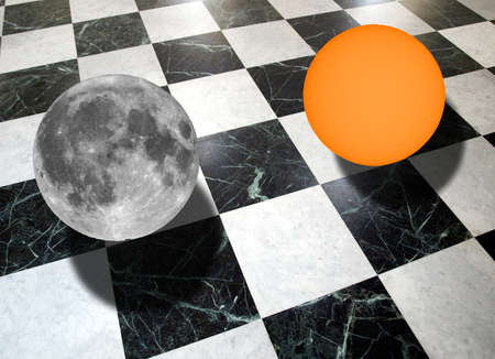 metaphysics: Metaphysical composition with the sun and the moon on a checkered marble floor (collage made with my own photos with a telescope)