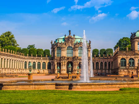 addition: DRESDEN, GERMANY - JUNE 11, 2014: Dresdner Zwinger palace designed by Poeppelmann in 1710 as orangery and exhibition gallery completed by Gottfried Semper with the addition of Semper Gallery in 1847 (HDR)