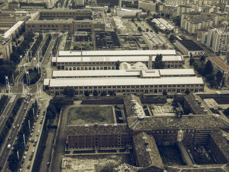 nuove: Vintage desaturated Aerial view of the city centre of Turin, Italy
