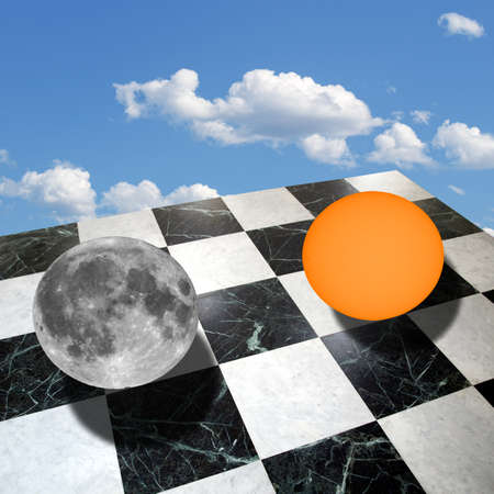 metaphysics: Metaphysical composition with the sun and the moon on a checkered marble floor over blue sky with clouds (collage made with my own photos taken with a telescope)