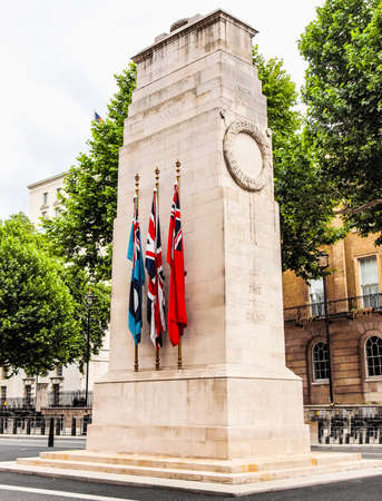 commemorate: High dynamic range HDR Cenotaph to commemorate the deads of all wars, London, UK Stock Photo