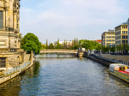 spree: High dynamic range HDR The river Spree in the town of Berlin, Germany