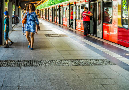 strain: BERLIN, GERMANY - CIRCA JUNE 2016: S-bahn (meaning S-train), abbreviation of Stadtbahn (meaning City train) electrified hybrid urban and suburban railway (HDR) Editorial