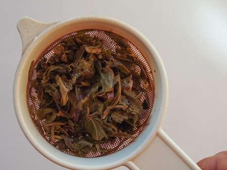 gunpowder: Chinese gunpowder green tea in a colander