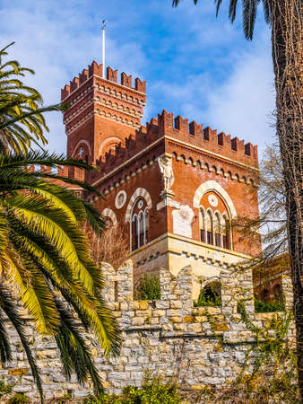gothic revival: High dynamic range HDR Castello d Albertis gothic revival castle in Genoa Italy