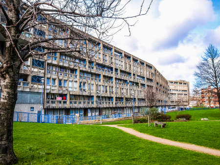 LONDON, ENGLAND, UK - MARCH 05, 2009: The Robin Hood Gardens housing estate designed in late sixties by Alison and Peter Smithson is a masterpiece of new brutalist architecture (HDR) Editorial