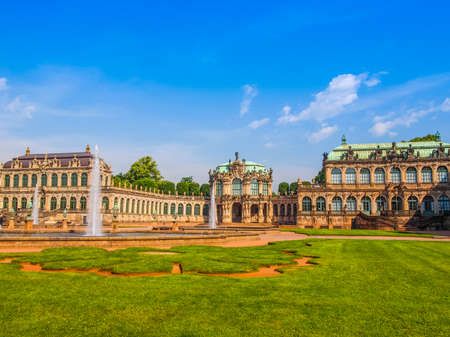 DRESDEN, GERMANY - JUNE 11, 2014: Dresdner Zwinger palace designed by Poeppelmann in 1710 as orangery and exhibition gallery completed by Gottfried Semper with the addition of Semper Gallery in 1847 (HDR)