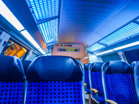 dresden: DRESDEN, GERMANY - JUNE 10, 2014: Regional train interior in Saxony Germany Europe (HDR)
