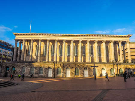 venue: BIRMINGHAM, UK - SEPTEMBER 25, 2015: Tourists in front of Town Hall concert venue (HDR) Editorial