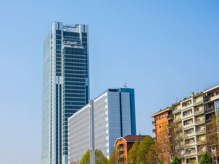 public housing: TURIN, ITALY - APRIL 11, 2015: The new skyscraper housing Intesa San Paolo bank headquarters designed by Renzo Piano Building Workshop just opened today to the public is the highest building in Turin (HDR)