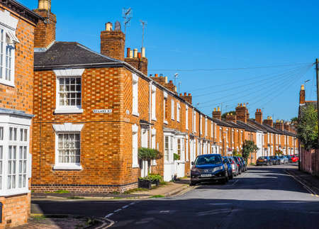 typically: STRATFORD UPON AVON, UK - SEPTEMBER 26, 2015: A row of typically British terraced houses aka townhouses (HDR)