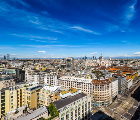 MILAN, ITALY - CIRCA APRIL 2016: Aerial view of the skyline of the city (HDR)