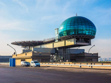 helipad: TURIN, ITALY - DECEMBER 16, 2015: Roof meeting room know as La Bolla meaning The Bubble and helipad at Lingotto conference centre designed by Renzo Piano in former Fiat car factory (HDR)