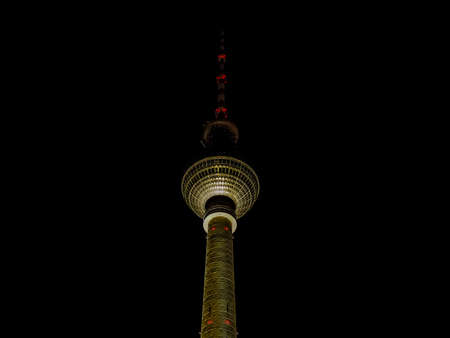 BERLIN, GERMANY - CIRCA JUNE 2016: Fernsehturm (meaning Television tower) in Alexanderplatz at night (HDR) Editorial