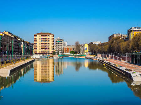 MILAN, ITALY - MARCH 28, 2015: The City harbor known as La Darsena is being redeveloped as part of the Expo Milano 2015 international exhibition (HDR)