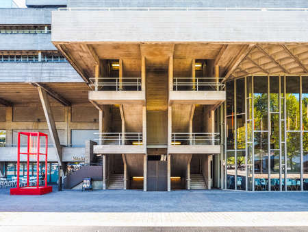 LONDON, UK - SEPTEMBER 28, 2015: The National Theatre designed by Sir Denys Lasdun is a masterpiece of new brutalist architecture (HDR)