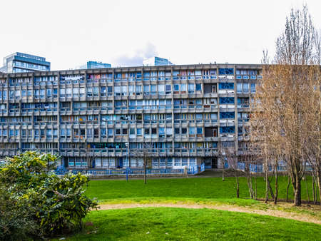 range hood: LONDON, ENGLAND, UK - MARCH 05, 2009: The Robin Hood Gardens housing estate designed in late sixties by Alison and Peter Smithson is a masterpiece of new brutalist architecture (HDR) Editorial