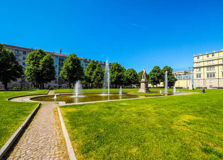 TURIN, ITALY - CIRCA MAY 2016: Giardino Aiuola Balbo public park and fountain (HDR) Editorial