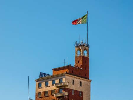 hdr: Torre Littoria skyscraper in Piazza Castello Turin Italy (HDR)