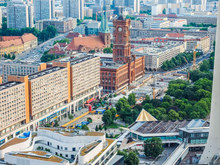 municipal editorial: BERLIN, GERMANY - CIRCA JUNE 2016: Aerial view of the city from Alexanderplatz (HDR)
