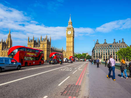 LONDON, UK - JUNE 10, 2015: Houses of Parliament aka Westminster Palace seen from Westminster Bridge (HDR) Editorial