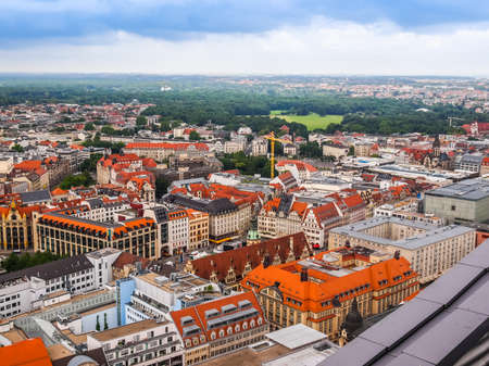 leipzig: LEIPZIG, GERMANY - JUNE 14, 2014: Aerial view of the city (HDR) Editorial
