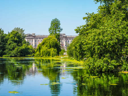 hdr background: LONDON, UK - JUNE 11, 2015: St James Park with Buckingham Palace in the background (HDR)