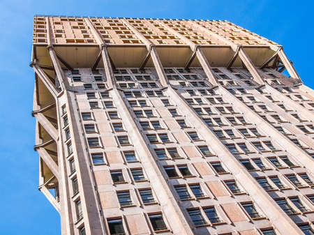 The Torre Velasca designed in 1955 by BBPR is a masterpiece of Italian new brutalist architecture (HDR)