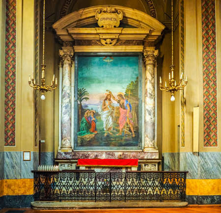 immaculate conception: TURIN, ITALY - CIRCA JUNE 2016: Baptismal font in San Donato Immacolata Concezione (meaning Immaculate Conception) church (HDR)