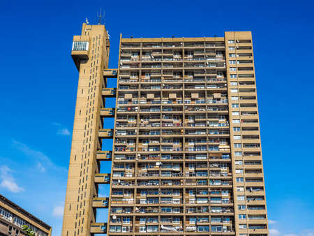 LONDON, UK - SEPTEMBER 28, 2015: The Trellick Tower designed by Erno Goldfinger in 1964 is a masterpiece of new brutalist architecture (HDR) Editorial