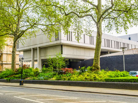 sir: LONDON, ENGLAND, UK - MARCH 05, 2009: The Royal College Of Physicians designed in 1964 by Sir Denys Lasdun is a masterpiece of new brutalist architecture (HDR)