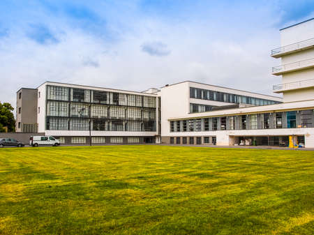 listed buildings: DESSAU, GERMANY - JUNE 13, 2014: The Bauhaus art school iconic building designed by architect Walter Gropius in 1925 is a listed masterpiece of modern architecture (HDR) Editorial