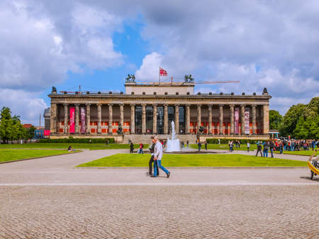 antiquities: BERLIN, GERMANY - MAY 10, 2014: Tourists visiting the Altes Museum of Antiquities in Museumsinsel Berlin Germany (HDR)