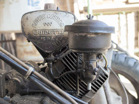 carburetor: MILAN, ITALY - CIRCA AUGUST 2016: Detail of Guidetti Condor engine on a vintage BCS 622 lawn mower