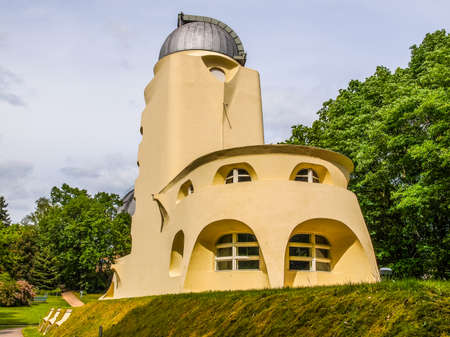 relativity: POTSDAM, GERMANY - MAY 10, 2014: The Einstein Turm astrophysical observatory was designed by architect Erich Mendelsohn in 1917 for Albert Einstein to validate his Relativity Theory (HDR)