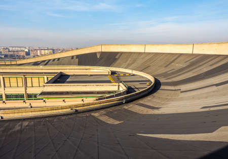 16: TURIN, ITALY - DECEMBER 16, 2015: Roof top race track at Lingotto former Fiat car factory (HDR)