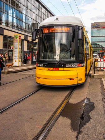 addition: BERLIN, GERMANY - MAY 08, 2014: Trams are part of the city public transport in addition to the Ubahn subway and surface trains and buses (HDR)